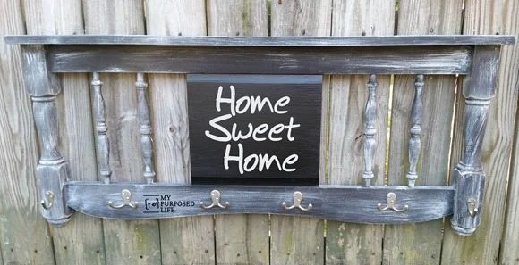 distressed headboard chalkboard coat rack-coffee cup rack MyRepurposedLife.com