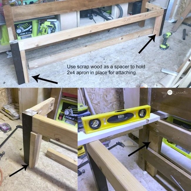 attaching front and back aprons on headboard bench
