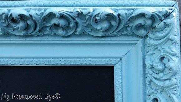 ornate aqua picture frame chalkboard