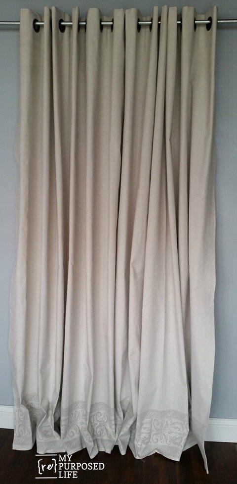 how to paint stencil roller stamp drop cloth grommet curtains MyRepurposedLife.com