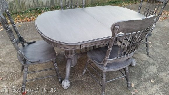 oak dining set distressed black wash over gray primer