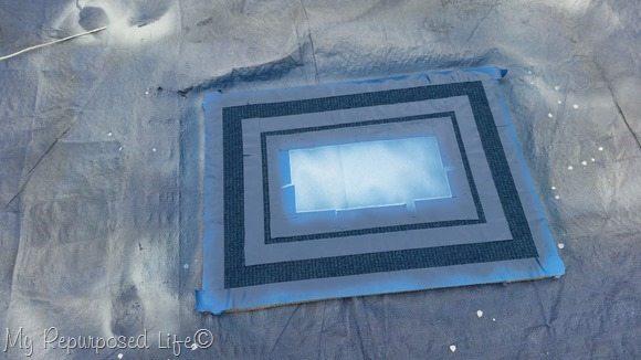 spray painted rug