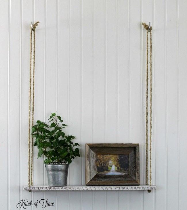 Diy Pallet Wood Hanging Rope Shelf My Repurposed Life
