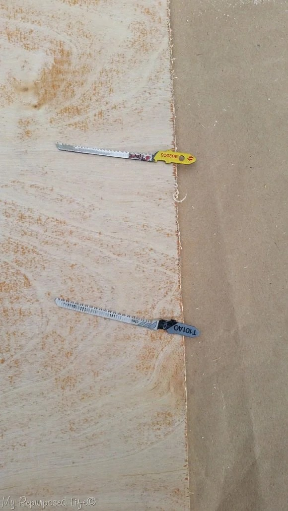 comparison of Starret and Bosch jigsaw blades cutting thin plywood