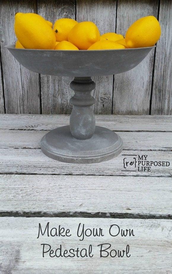 make your own rustic pedestal bowl MyRepurposedLife.com