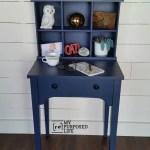 Navy Blue Writing Desk Hutch