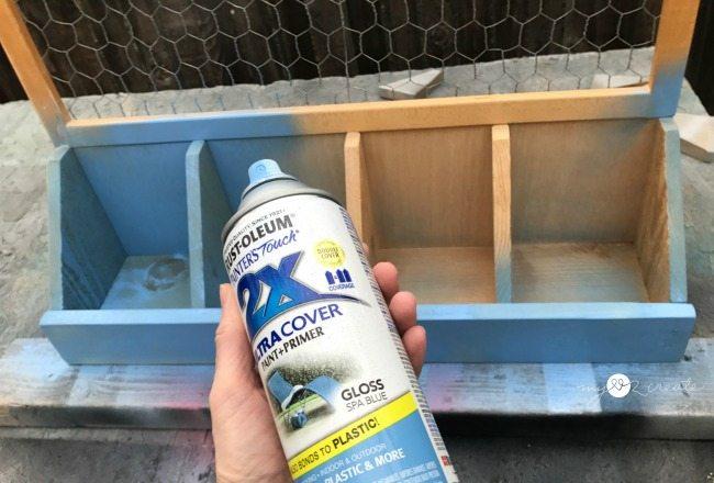 spray painting desk organizer