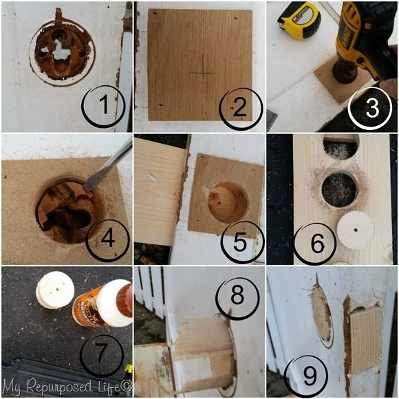 step by step how to plug a door knob hole MyRepurposedLife.com