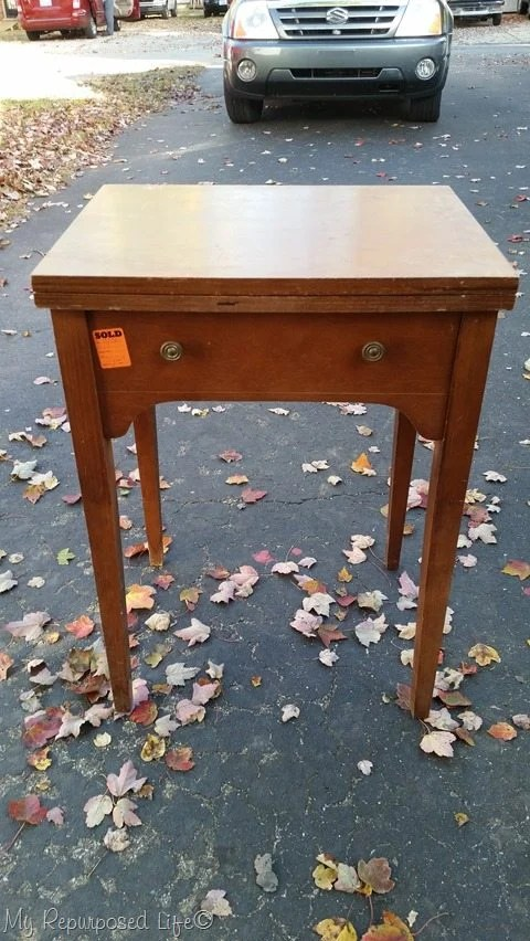 vintage sewing cabinet into writing desk