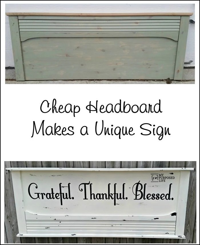 A stenciled headboard sign. Grateful Thankful Blessed. A repurposed headboard gets painted, and stenciled with vaseline distressing to make it look old. #MyRepurposedLife #repurposed #headboard #sign #grateful #thankful #blessed via @repurposedlife