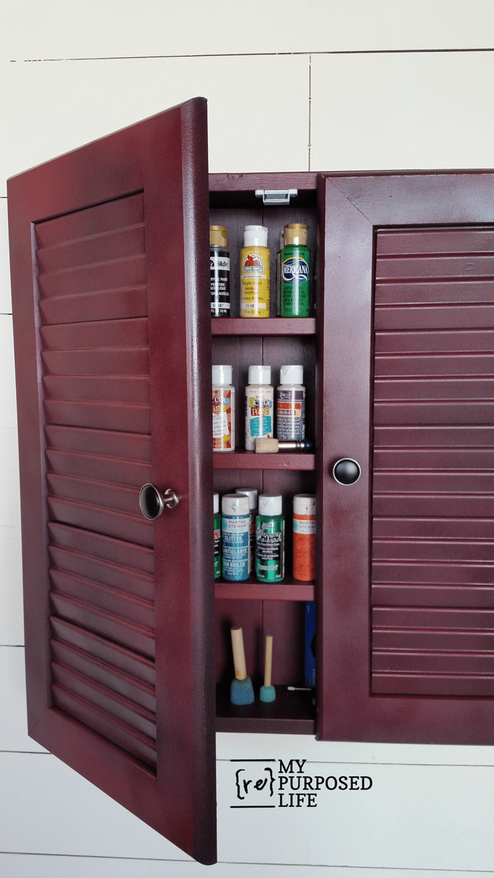 glazed red craft wall cabinet MyRepurposedLife
