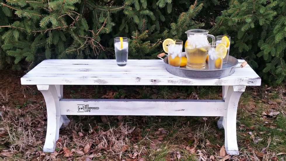 outdoor 2x4 farmhouse bench MyRepurposedLife.com