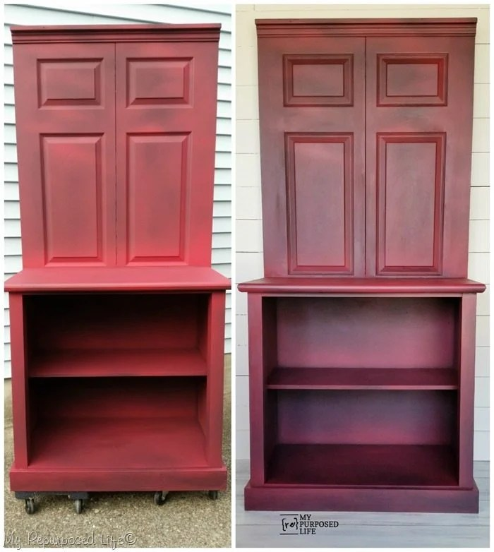 repurposed bi-fold door red dry brushed coffee station before and after wipe-on poly MyRepurposedLife.com