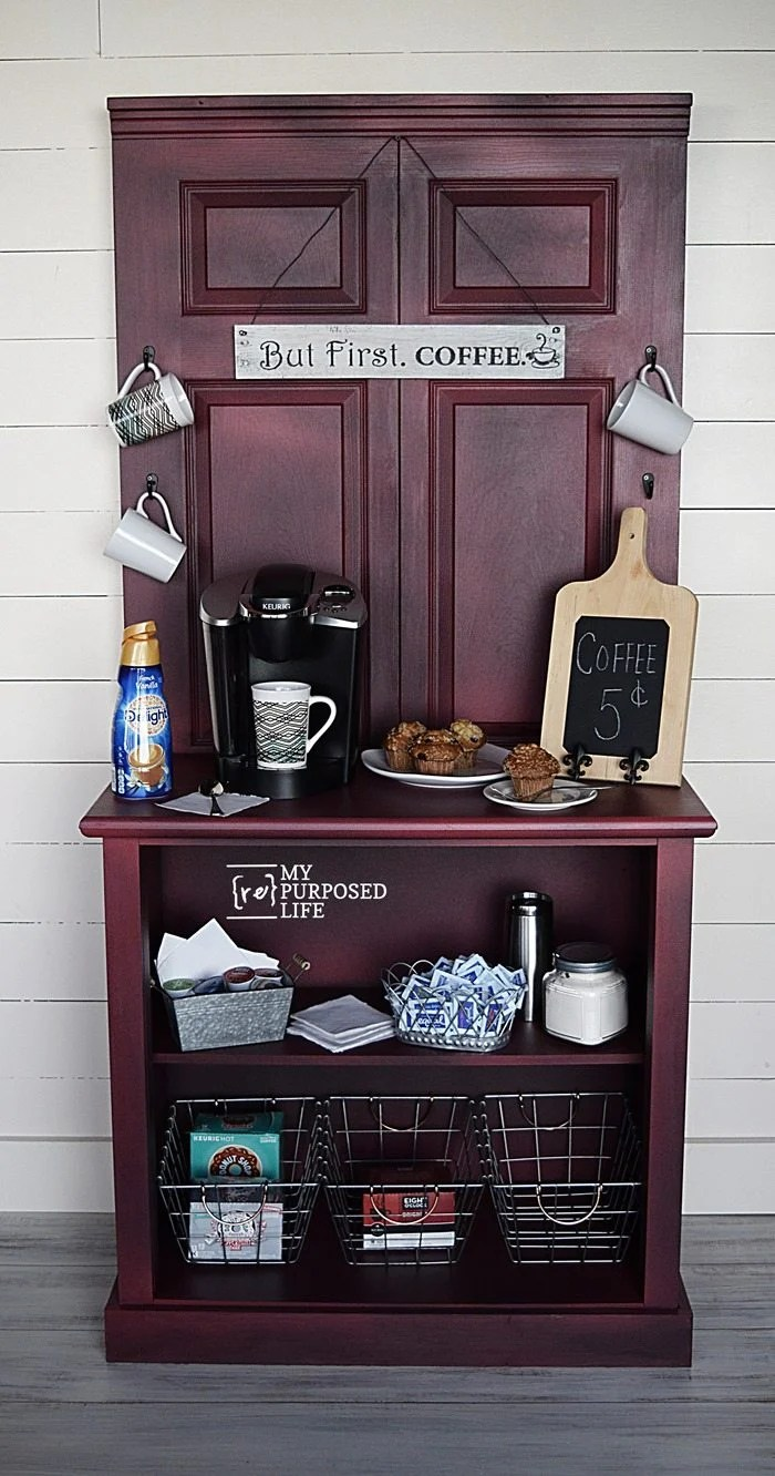 repurposed door and dresser red glazed coffee station MyRepurposedLife.com