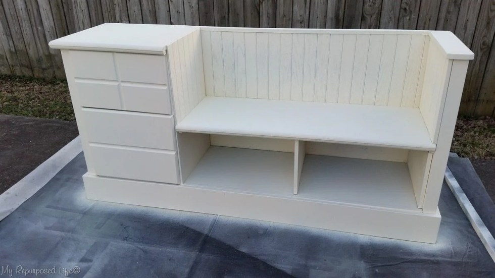 white dresser storage bench with bead board waiting for hardware