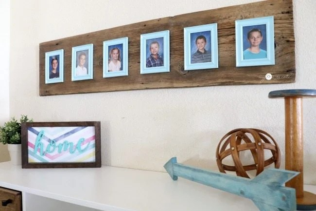 wood and $1 picture frame display