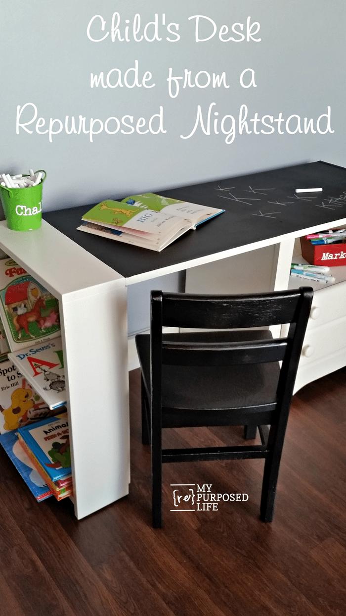 childs desk made from a repurposed nightstand MyRepurposedLife