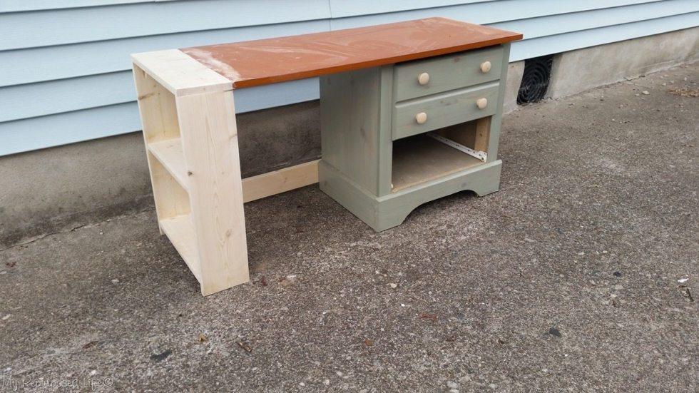 diy nightstand desk in progress