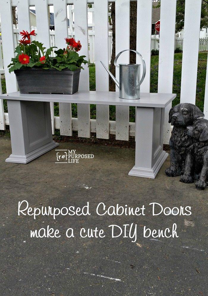 repurposed cabinet doors make a cute diy bench MyRepurposedLife.com
