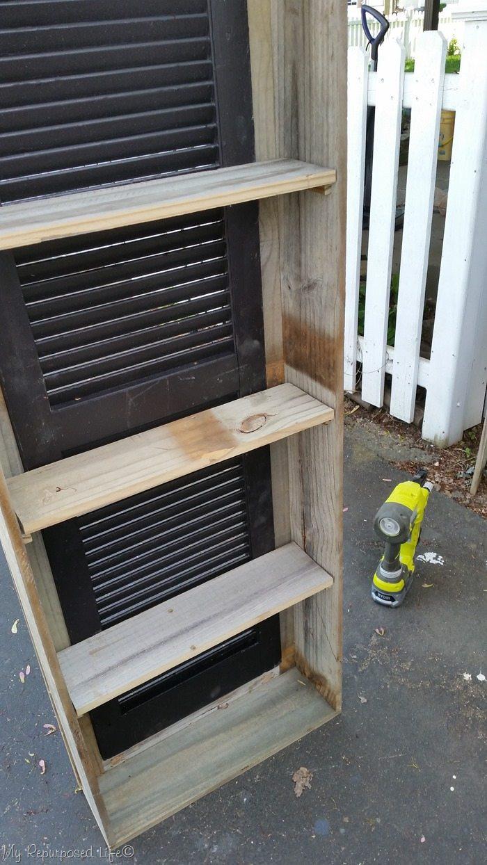 rustic shutter cabinet shelf