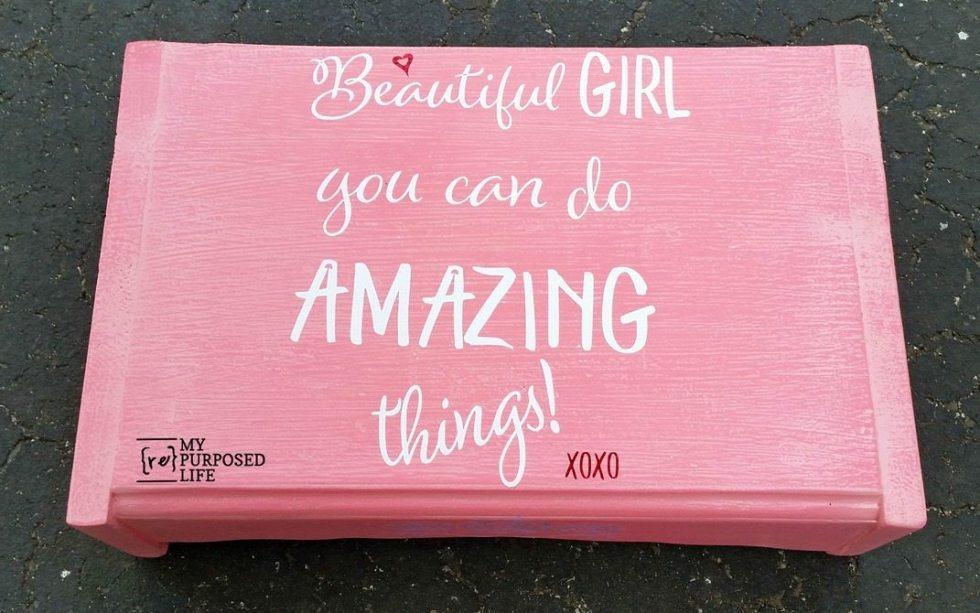 girl's pink step stool mommys helper MyRepurposedLife.com