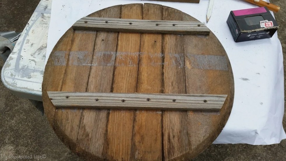 Whiskey Barrel Lid Makeover My Repurposed Life