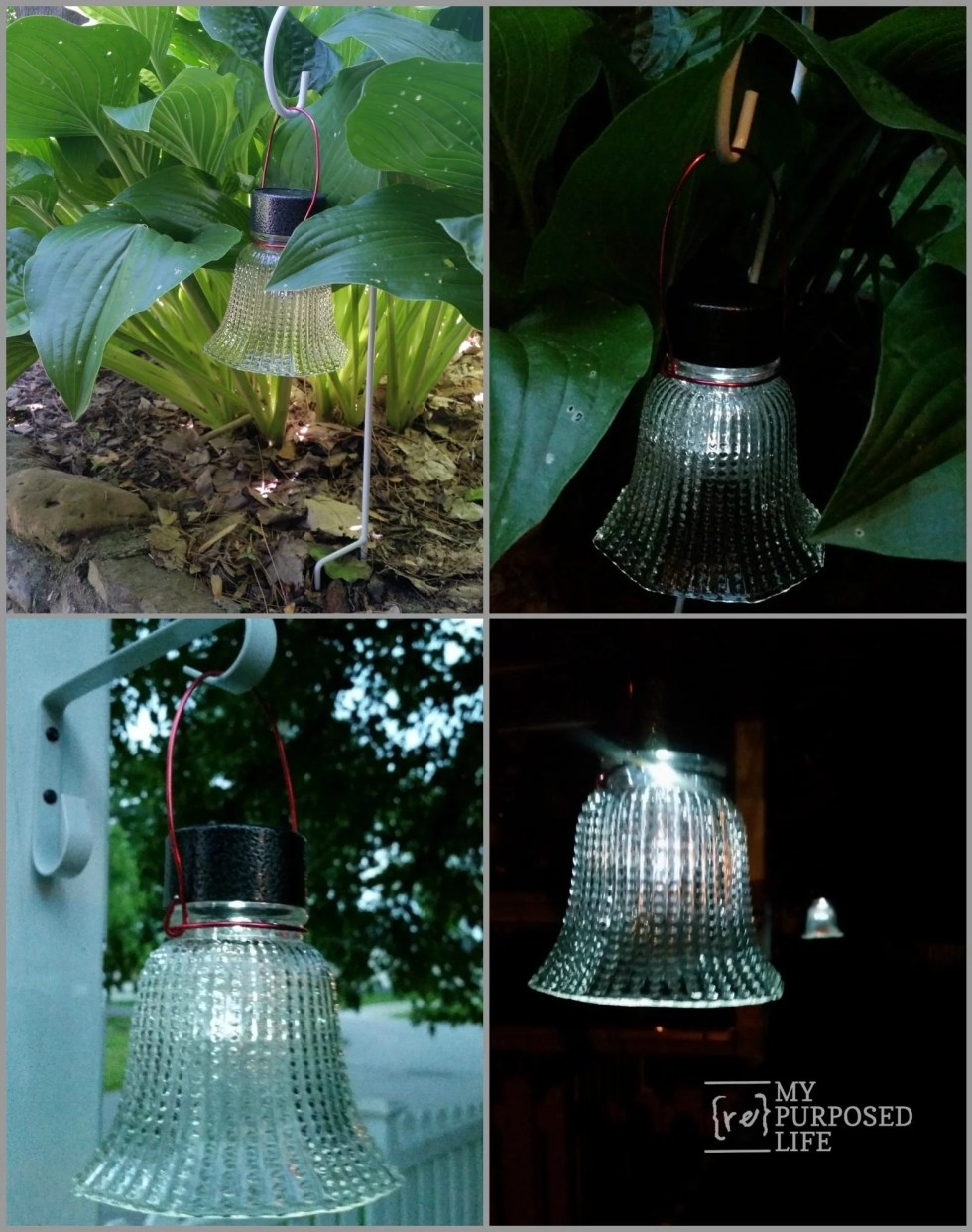 solar lights using ceiling fan globes MyRepurposedLife.com
