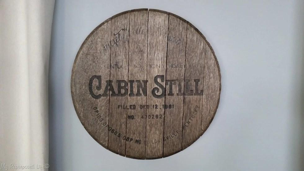 vintage whiskey barrel lid makeover