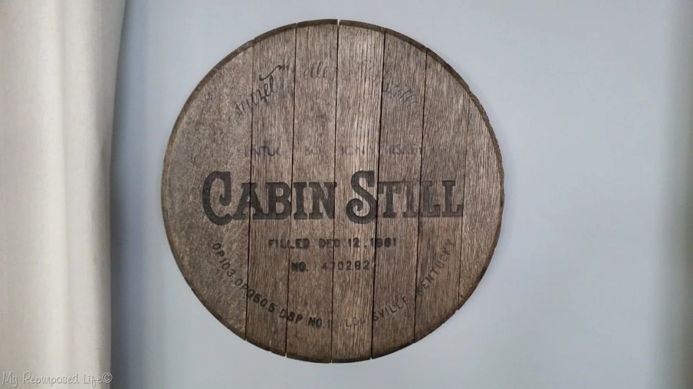 vintage whiskey barrel lid makeover