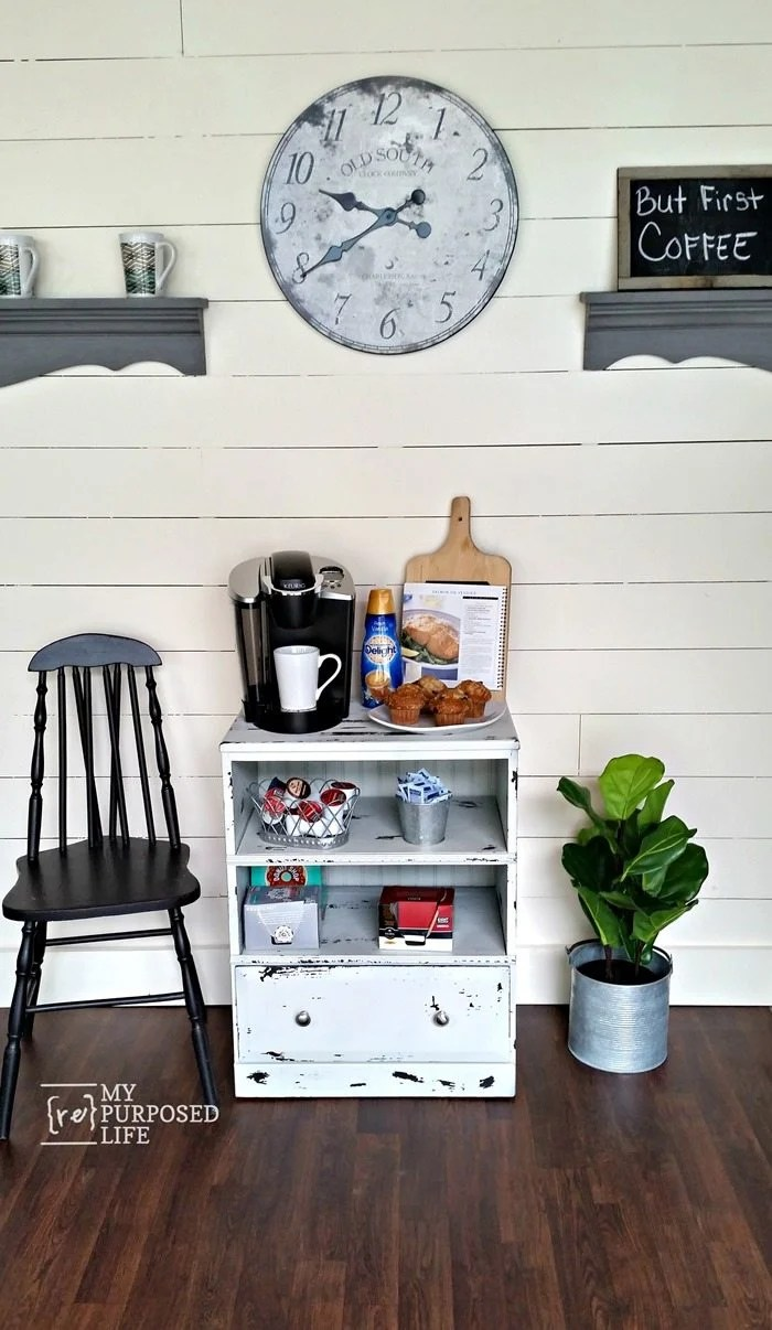 small repurposed nightstand coffee station MyRepurposedLife.com