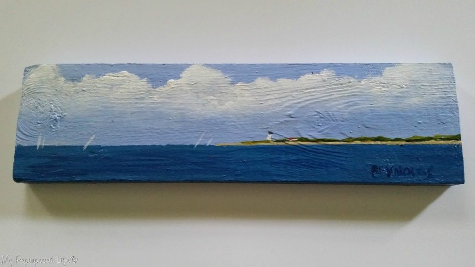 Long Point Light painting on reclaimed wood Peg Reynolds