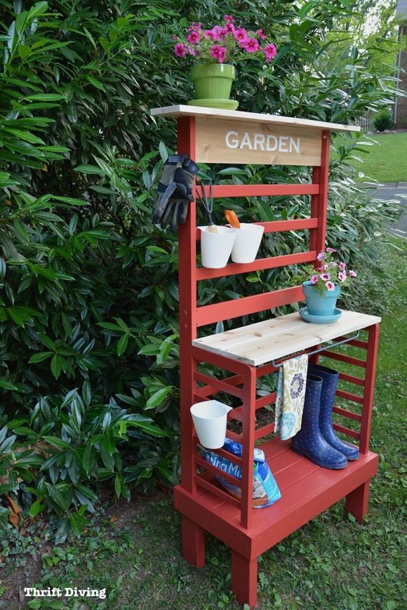 repurposed toddler bed potting bench