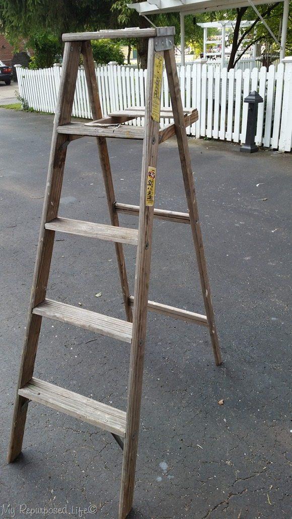 five dollar vintage wooden ladder