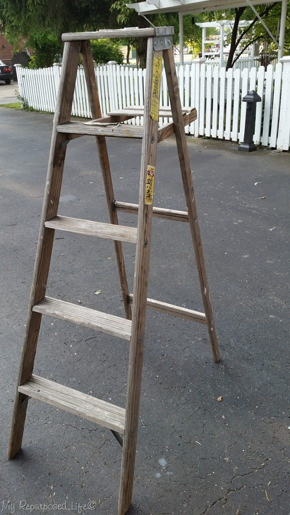 five dollar vintage wooden ladder