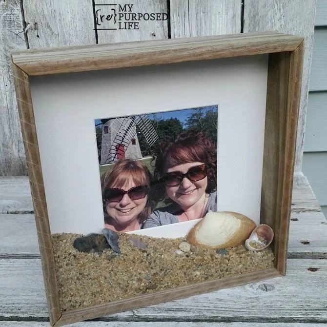 how to display vacation photos and keepsakes from the beach in a rustic shadow box MyRepurposedLife.com