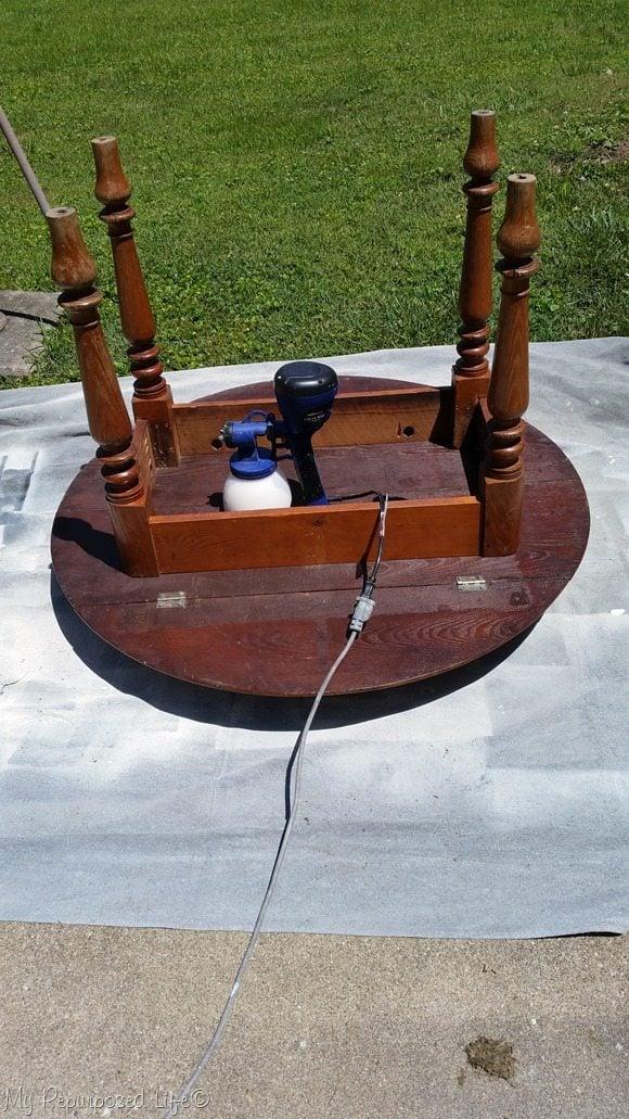 paint oak table upside down