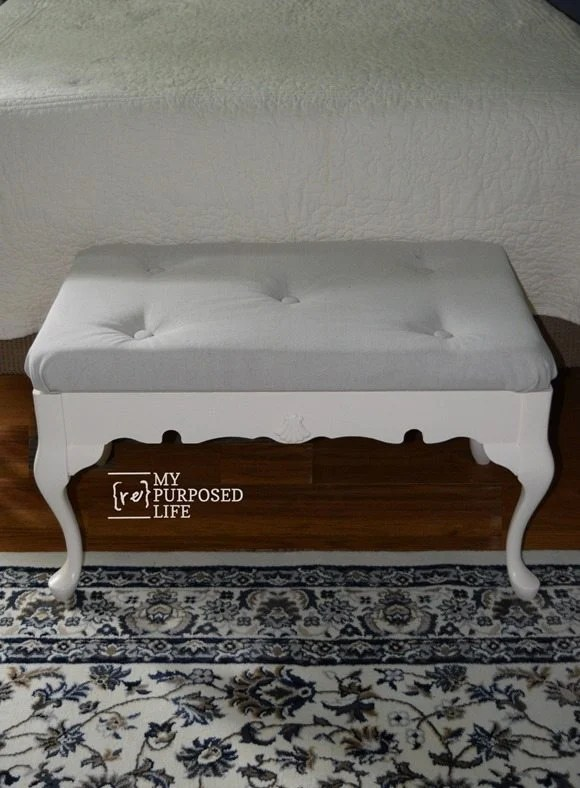 white end of bed bench made from coffee table MyRepurposedLife.com