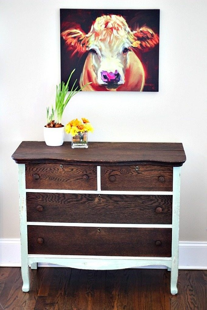 Dresser-Makeover-using-chalk-based-paint-and-stain
