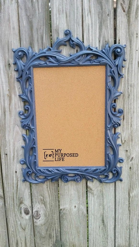 former gold mirror frame blue fancy framed cork board MyRepurposedLife.com