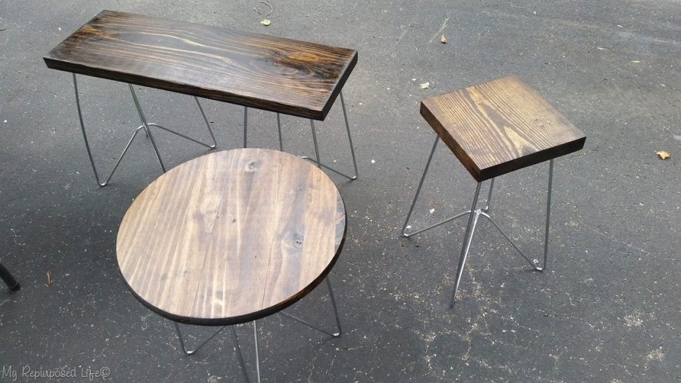 wooden side tables with metal legs