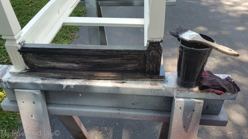 black glaze over white paint coffee table