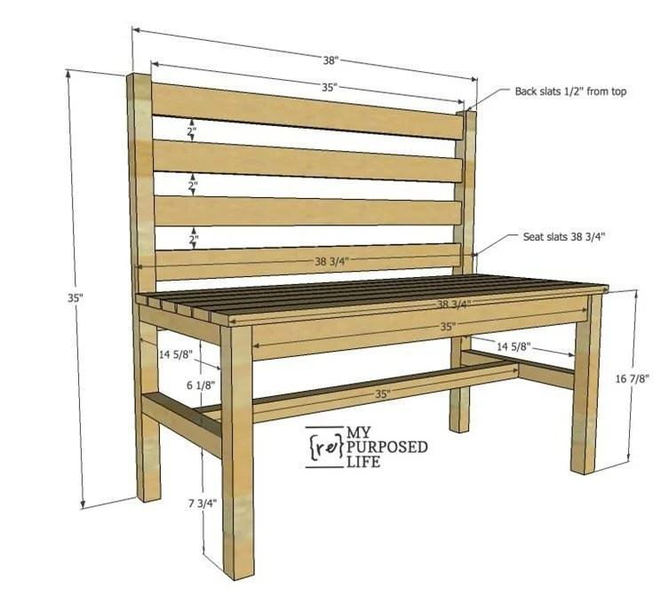 Enjoyable Wooden Slat Bench Plans Rustic Bench With Back My Gmtry Best Dining Table And Chair Ideas Images Gmtryco