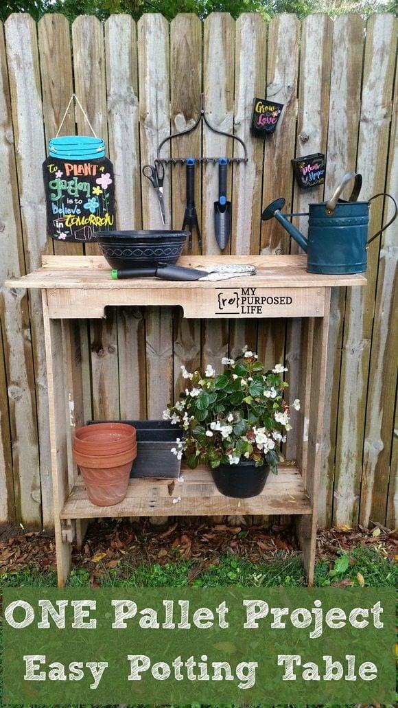 one pallet project-easy potting table MyRepurposedLife.com