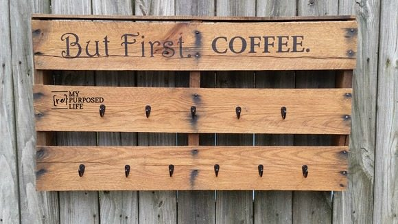 but first coffee pallet cup rack MyRepurposedLife.com