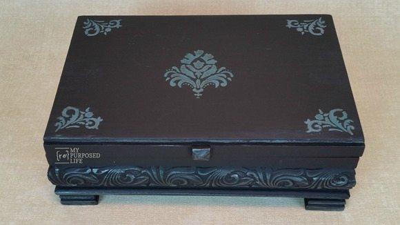 small black wooden trinket keepsake box