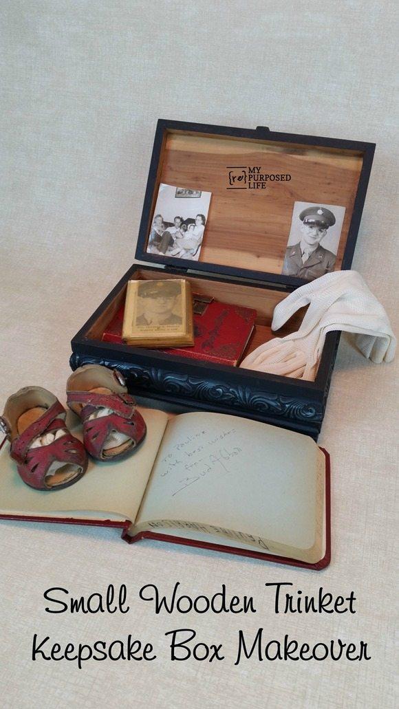 small wooden trinket keepsake box makeover using rub-n-buff MyRepurposedLife.com