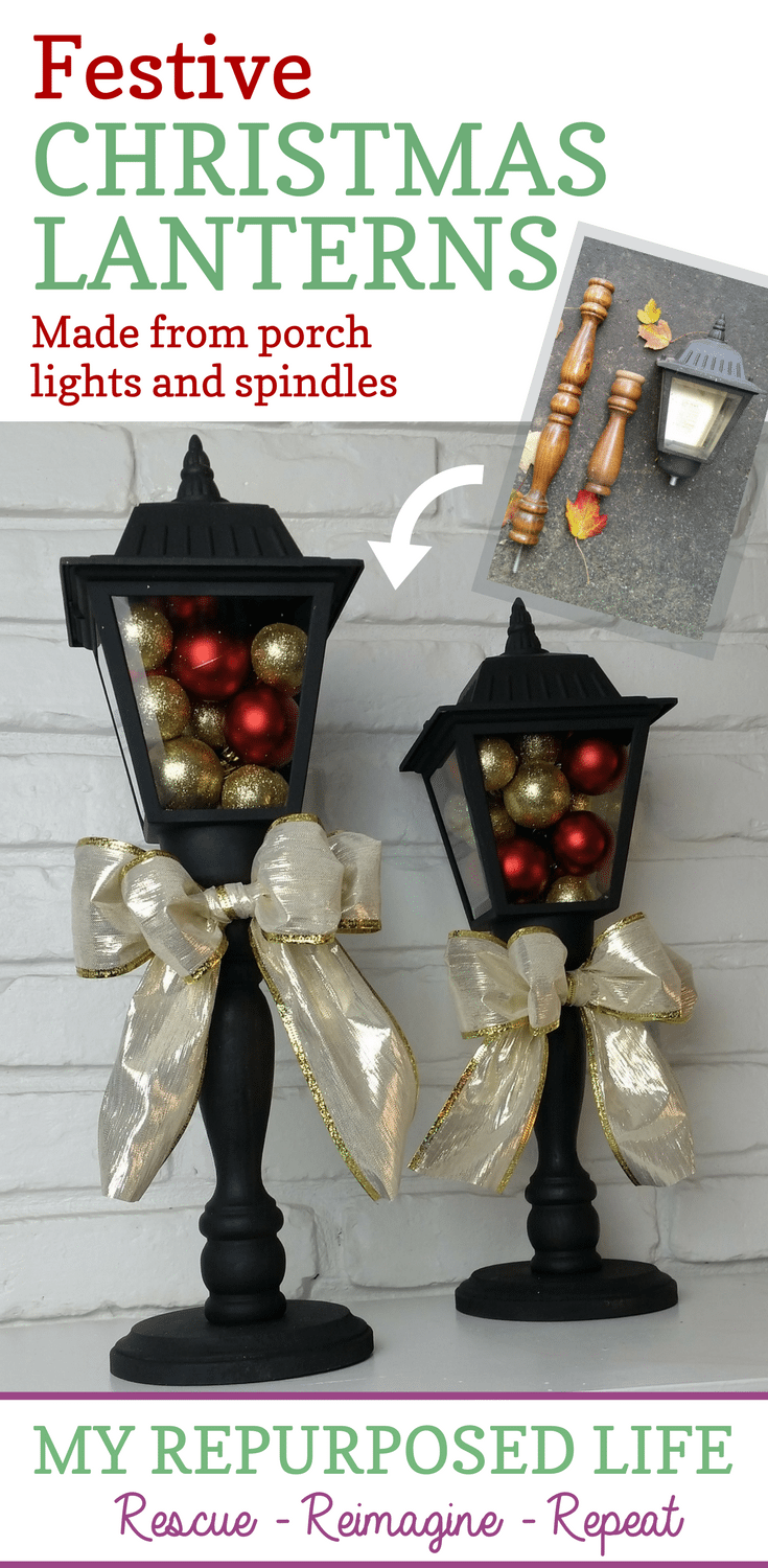 how to make lanterns out of porch lights and reclaimed spindles-not just for the holidays