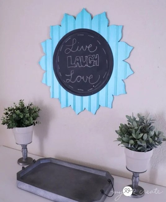 beadboard cut out flower with chalkbord center