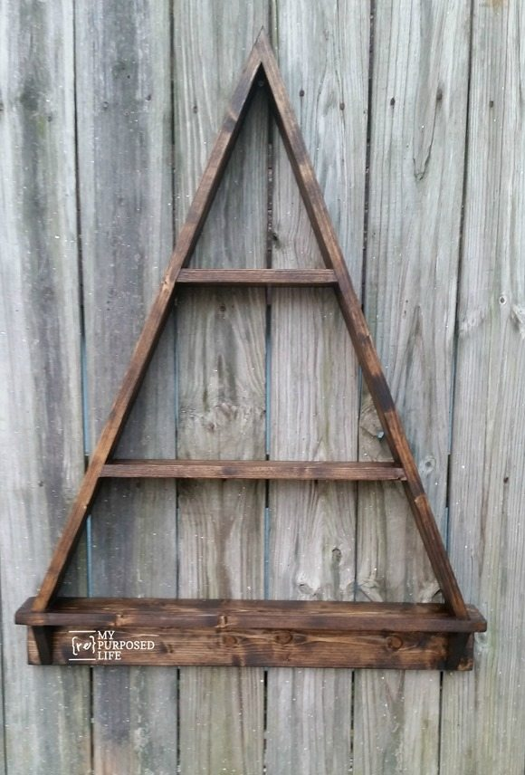stained Christmas Tree Shelf MyRepurposedLife