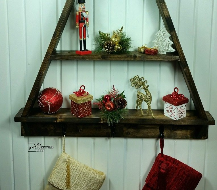 stocking holder Christmas tree shelf MyRepurposedLife.com